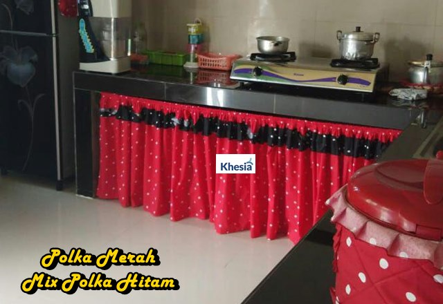 Desain Dapur Merah Hitam  gorden kolong dapur khesia shop